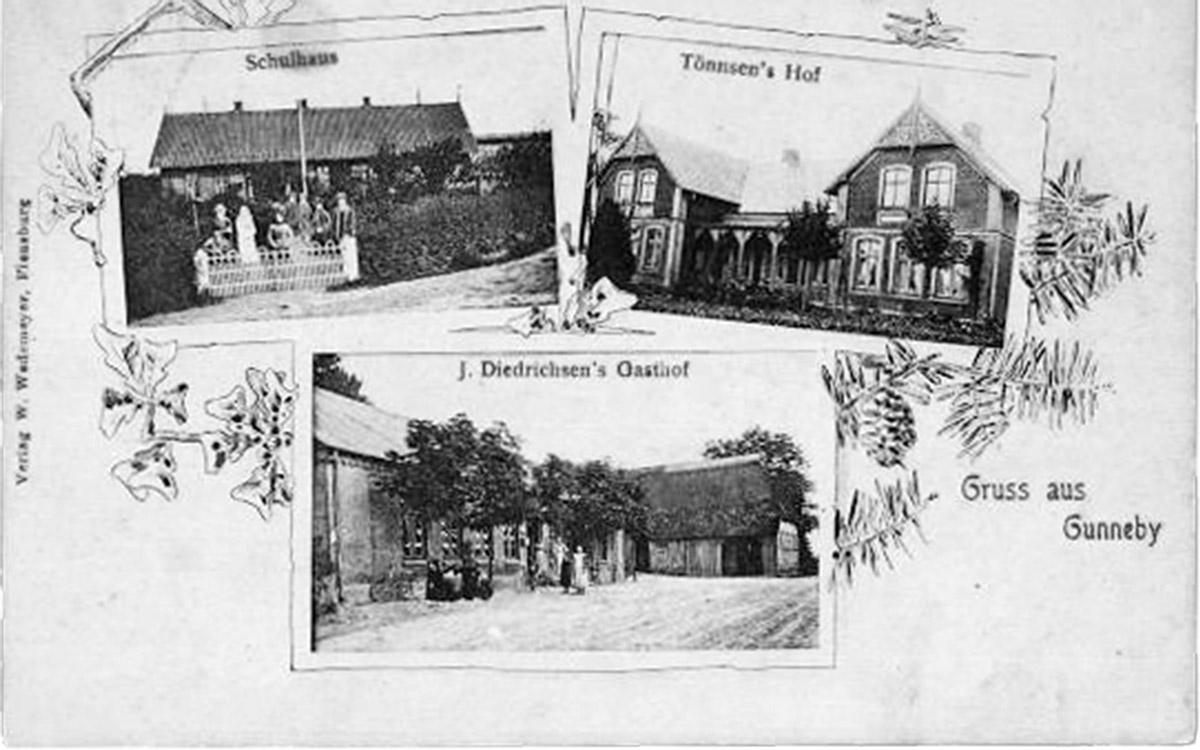 Alte Postkarte von Gunneby.