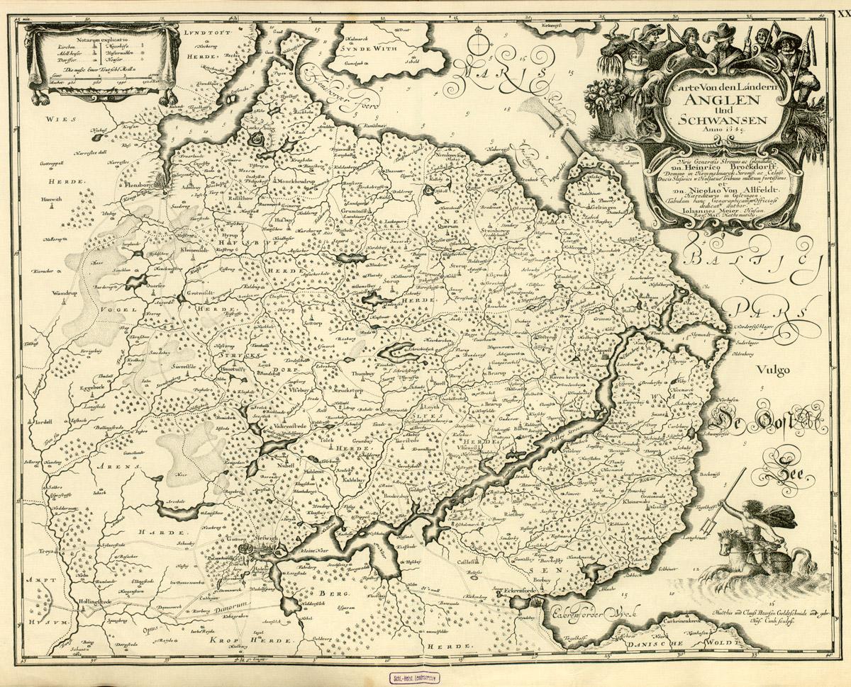 Bewaldung der Gemeinde nach der Karte von Caspar Danckwerth von 1652