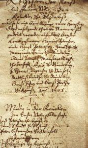 Die Sitzordnung der St. Walhadi-Kirche in Ulsnis im Jahre 1608.