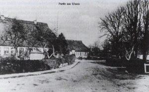 Alte Postkarte des Dorfzentrums Ulsnis